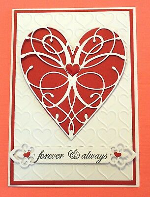 White Forever & Always Valentines Day Handmade Card DIY Card Making Kit Heart