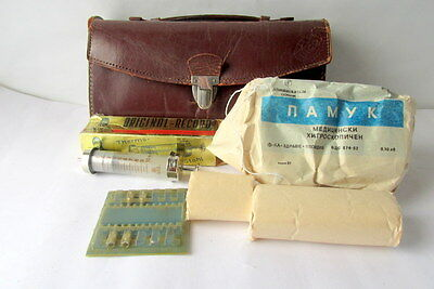 Vintage Old small Medic Doctor leather bag marked INCO