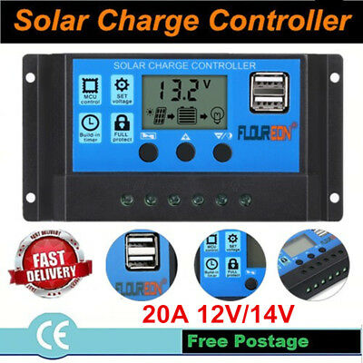 12V/24V Auto Solar Panel Battery Regulator Charge Controller 20A PWM LCD Display