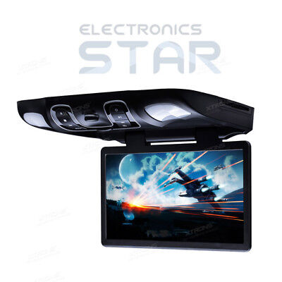 "Car Overhead Ceiling Roof Mount Monitor DVD Player 15.6"" Wide Screen USB Black"