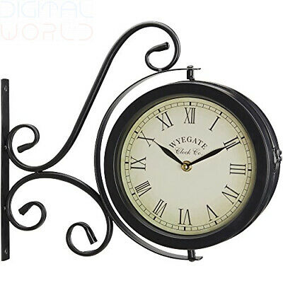 About Time Bracket Mounted Cockerel Bell Garden Outdoor Clock & Thermometer 47cm