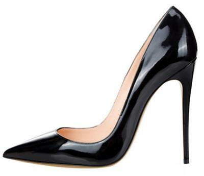 Women's Sexy Patent Leather High Stiletto Heel Pull On Pointed Toe Shoes Pumps