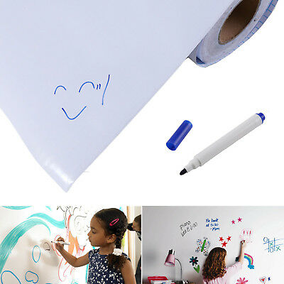 2m x 60cm DRY WIPE Removable Vinyl Whiteboard Wall Sticker Office Home +1 Marker