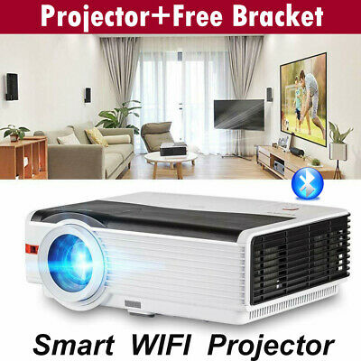 Android 8000Lumens 1080P WIFI BT Outdoor Smart LED Projector Media+Free Bracket