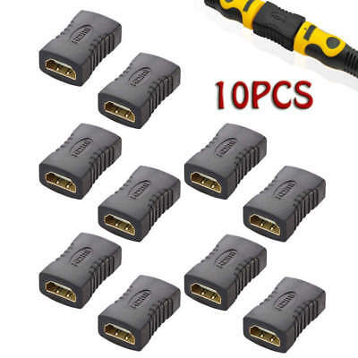 10pcs Black HDMI Female To Female Coupler Extender Adapter Connector HDTV 1080P