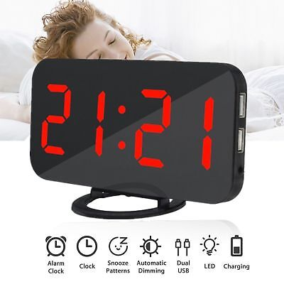 LED Digit Table Wall Clock Large 3D Display Alarm Clock Brightness Dimmer USB UK