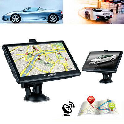 "FLOUREON 7"" FM Touch Screen Truck Car GPS Navigation System Free Maps 8GB 128M"