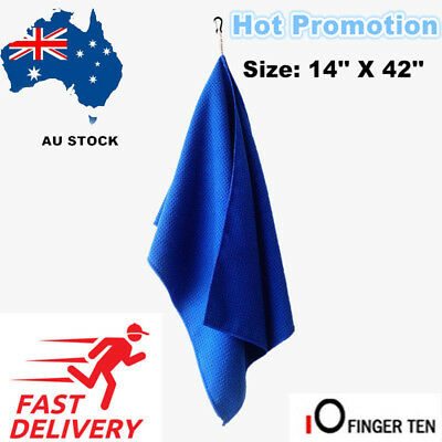 """NEW Golf Towel With Clip14""""x42"""" Waffle Microfiber Black Blue White By FINGER TEN"""