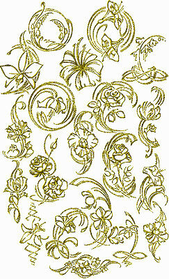 ABC Designs Gold Flowers machine embroidery designs 5x7-inch hoop