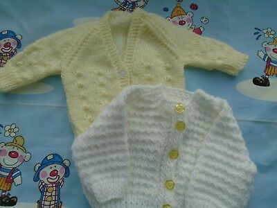 2 New Hand Knitted Cardigans 0/3 months