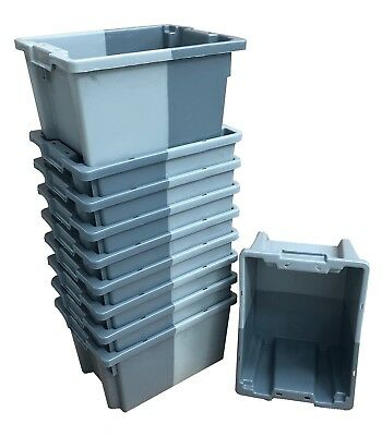 10 x 16 Litre Stack Nest Plastic Storage Boxes Containers Crates Shelf Totes Box