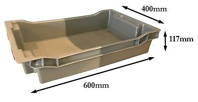 18 Litre GREY Stack Nest Tray Plastic Storage Boxes Containers Crates Totes!