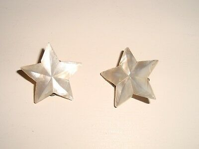 Antique Victorian Edwardian Carved Mother of Pearl MOP Clip Earrings Star Shape