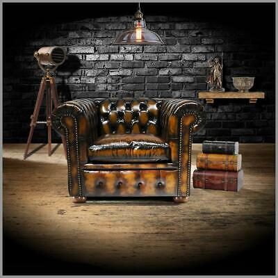 New Chesterfield Sofa Armchair Genuine Leather Settee Couch Antique Tan Brown