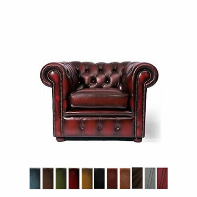 New Chesterfield Sofa Armchair Genuine Leather Settee Couch Antique Oxblood