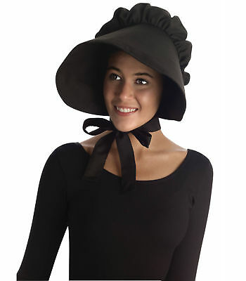 Colonial Pilgrim Victorian Olden Day Pioneer Women Costume Black Bonnet Hat