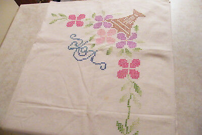 """VINTAGE Cross-Stitch Floral Fabric Tablecloth  44"""" x 50"""""""