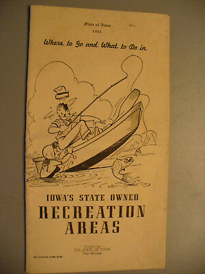 Vintage Iowa State Owned Recreation Areas Phamplet 1951 Hunting Fishing Camping