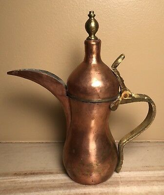 Antique Vintage 17cm 275 g Middle Eastern Islamic Copper Brass Dallah Coffee Pot