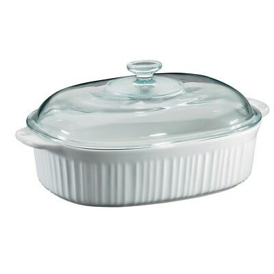 French White Oval Ceramic Casserole Dish with Glass Cover Stoneware Bakeware 4Qt