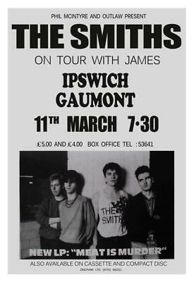 the SMITHS - POSTER - Live Concert w/James  Meat is Murder TOUR - Morissey Marr