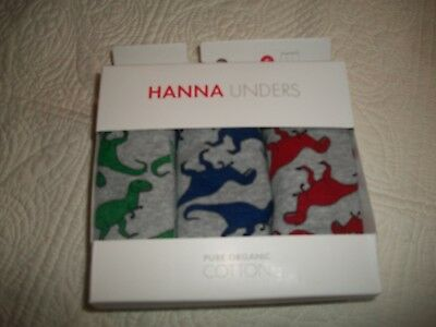 Hanna Andersson S 100/110  Boxer Briefs  US 4-5  3 Pair Dinosaurs NWT