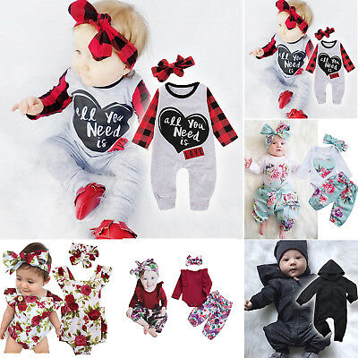 Infant Baby Girls Tops Romper Hooded Bodysuit Pants Headband Outfits Clothes Set