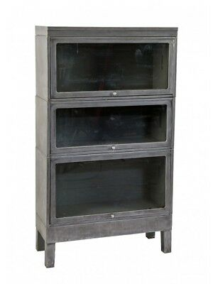 Three-Tier Brushed Metal Barrister Bookcase With Original Cabinet Door Glass