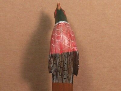 """Vintage Hand Carved Wooden Pheasant Bird Letter Opener - Hand Painted- 8"""""""