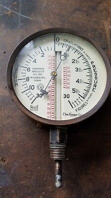 Ther-Kompo-Gage Hoffman Specialty Combo Gauge Large Railroad Boiler pressure