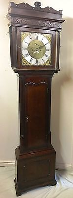 Antique Brass 8 Day Oak & Mahogany Longcase Grandfather Clock WALKER NANTWICH