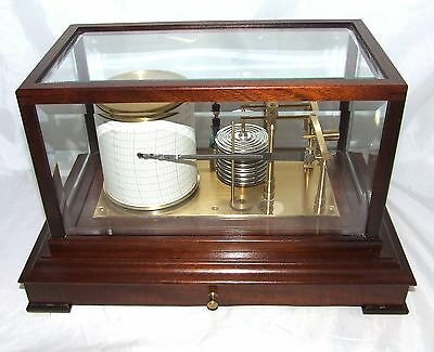 Mahogany Cased Barograph with Chart Drawer & Bevelled Glass : GLUCK MOVEMENT