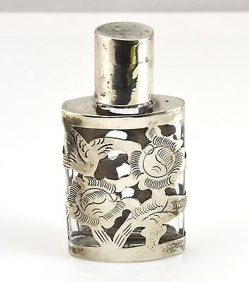 Vintage Mexico Sterling Silver Over Clear Glass Perfume Bottle