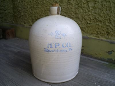 ANTIQUE H.P. CO Hawthorn PA Stoneware 2 gal. Jug Pottery Blue Stenciling