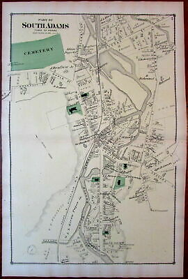 South Adams downtown Berkshire Mass. 1876 detailed uncommon old map owners names