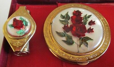 Vintage Crest Makeup Compact and Lipstick Holder Boxed Set - Flowers in Acrylic