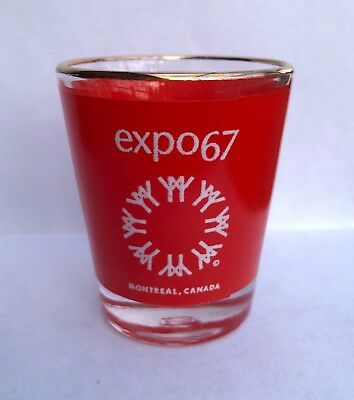 Vintage 1967 Montreal WORLD EXPO World's Fair Red SHOT GLASS