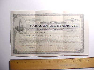 1921 PARAGON OIL SYNDICATE HAMILTON OHIO STOCK CERTIFICATE 9 shares at $100 each