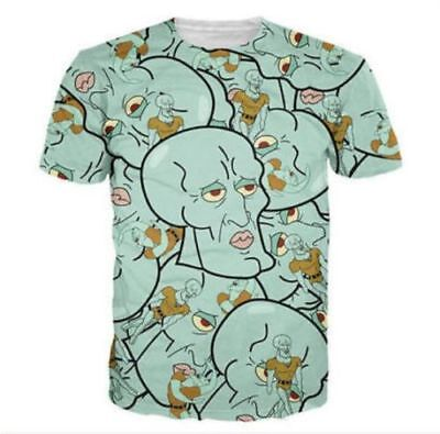 Handsome Squidward Mens Casual 3D Print Short Sleeve Graphic Tee T-Shirt 176