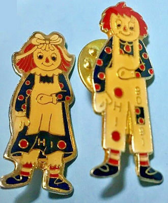 Raggedy Anne & Andy PINS (2) -VFW Ohio Conv. 1990-91 issues-New Old Stock