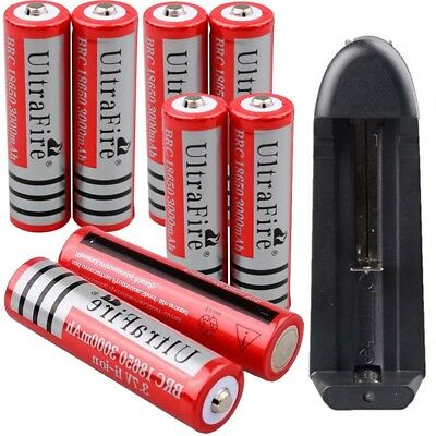 4/8* 3000mAh 18650 Battery 3.7v Li-ion Rechargeable Batteries For Torch +Charger