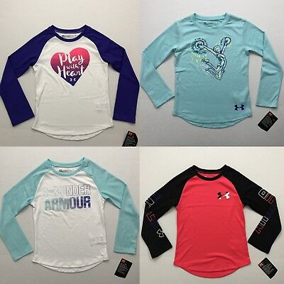 Under Armour NWT Youth Girls Top Long Sleeve Workout Athletic Size 4 5 6 6X