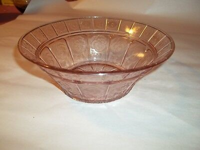 "Vintage Doric & Pansy Jeannette Dark Pink Depression Glass 8.25"" Serving Bowl"