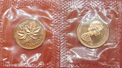 Proof Like 1966 Canada 1 Cent Sealed in Cello