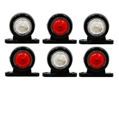6 x 12V 24V Bianco Rosso Piccolo Luci 2 LED Ingombro Laterale Furgone Camion A01