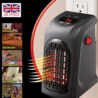 400W 220V Mini Furnace Heater Fan Portable Plug-in Electric Wall outlet Space UK