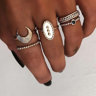 Retro 5pcs Moon Pattern Ring Set Gold Simple Rings Fashion Female Jewelry Gifts