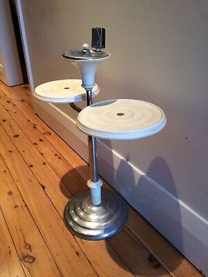Art Deco White Bakelite Side Table & Smokers Stand
