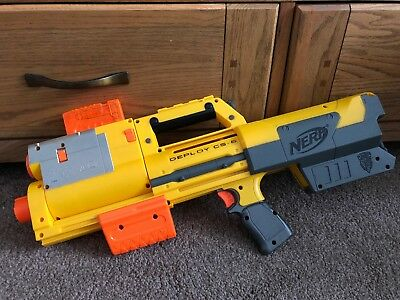 Nerf N-Strike DEPLOY CS- 6 Blaster Gun With Red For Sight Fully Working Tested