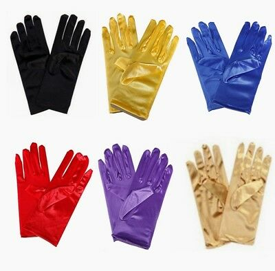 Wedding Party Prom Solid Color Gloves Evening Short Satin Elastic Unisize